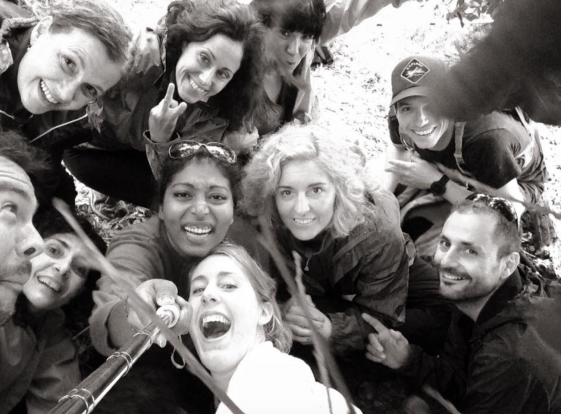 Hiking group and selfie stick.